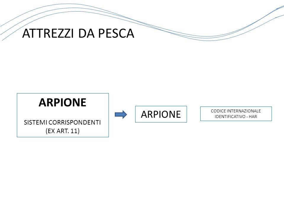 ATTREZZI DA PESCA CODICE INTERNAZIONALE IDENTIFICATIVO - HAR ARPIONE SISTEMI CORRISPONDENTI (EX ART. 11) ARPIONE