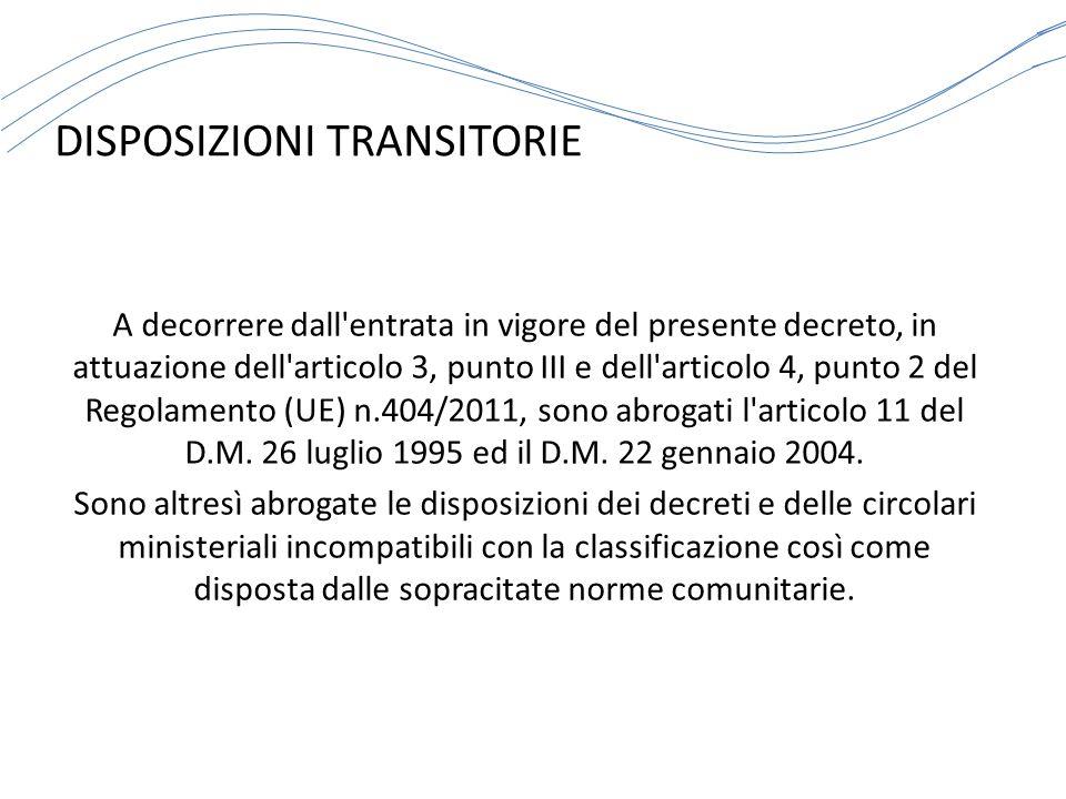 DISPOSIZIONI TRANSITORIE A decorrere dall'entrata in vigore del presente decreto, in attuazione dell'articolo 3, punto III e dell'articolo 4, punto 2