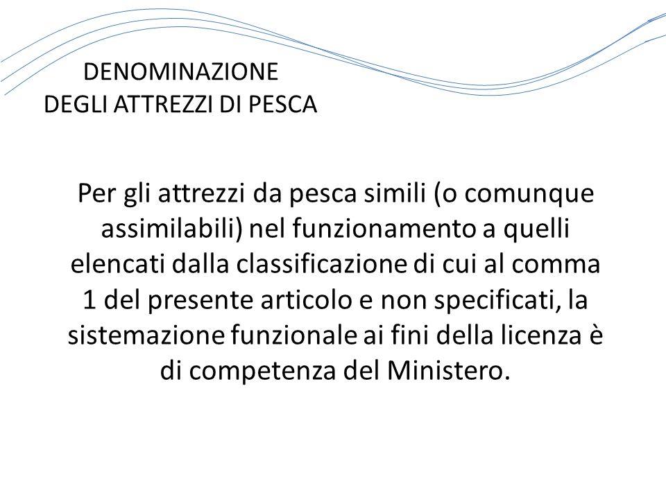 ATTREZZI DA PESCA CODICE INTERNAZIONALE IDENTIFICATIVO - PS CIRCUIZIONE SISTEMI CORRISPONDENTI (EX ART.