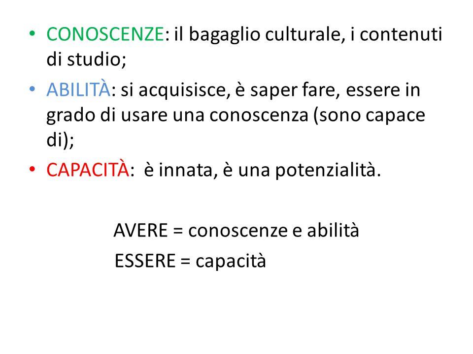 CONOSCENZE: il bagaglio culturale, i contenuti di studio; ABILITÀ: si acquisisce, è saper fare, essere in grado di usare una conoscenza (sono capace d