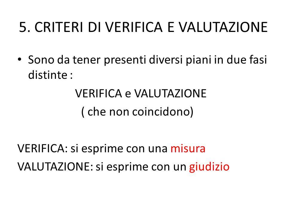 5. CRITERI DI VERIFICA E VALUTAZIONE Sono da tener presenti diversi piani in due fasi distinte : VERIFICA e VALUTAZIONE ( che non coincidono) VERIFICA