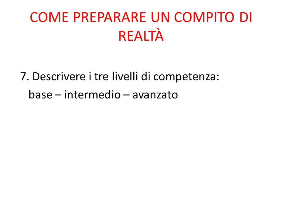7. Descrivere i tre livelli di competenza: base – intermedio – avanzato COME PREPARARE UN COMPITO DI REALTÀ
