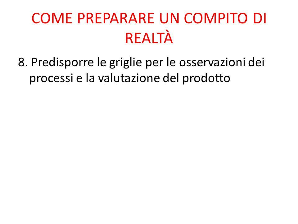 8. Predisporre le griglie per le osservazioni dei processi e la valutazione del prodotto