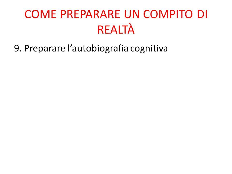 COME PREPARARE UN COMPITO DI REALTÀ 9. Preparare l'autobiografia cognitiva