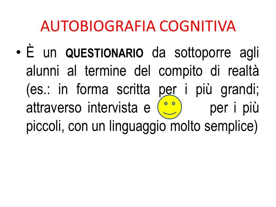 AUTOBIOGRAFIA COGNITIVA È un QUESTIONARIO da sottoporre agli alunni al termine del compito di realtà (es.: in forma scritta per i più grandi; attraver