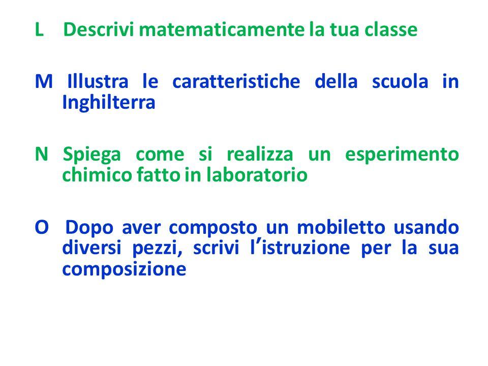 L Descrivi matematicamente la tua classe M Illustra le caratteristiche della scuola in Inghilterra N Spiega come si realizza un esperimento chimico fa