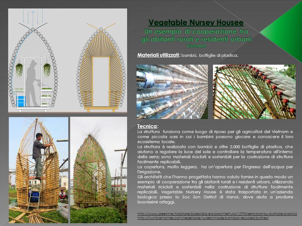 Materiali utilizzati : bambù, bottiglie di plastica. Tecnica : La struttura funziona come luogo di riposo per gli agricoltori del Vietnam e come picco