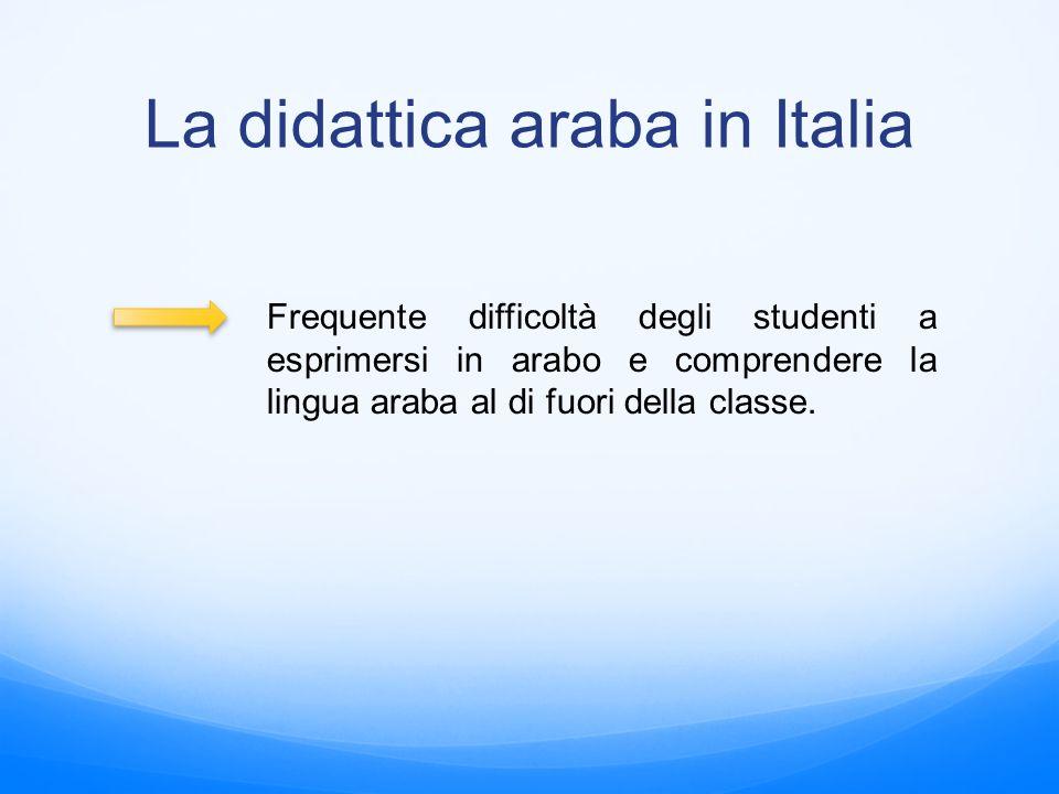 La didattica araba in Italia Frequente difficoltà degli studenti a esprimersi in arabo e comprendere la lingua araba al di fuori della classe.