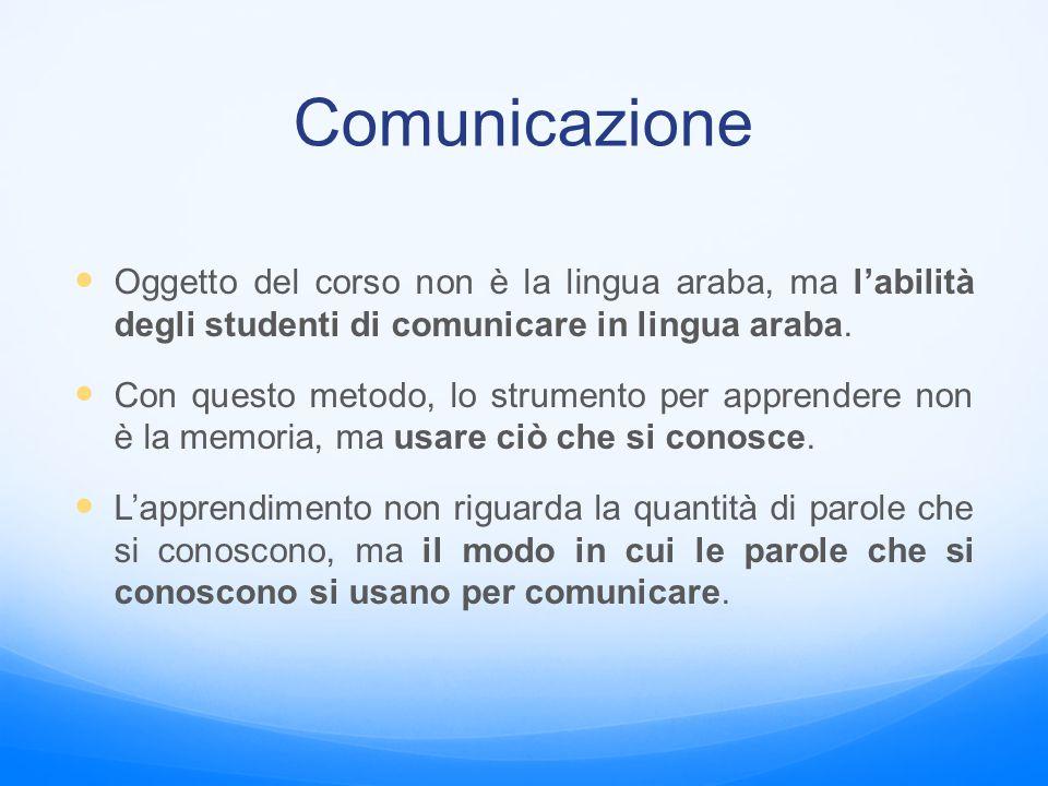 Comunicazione Oggetto del corso non è la lingua araba, ma l'abilità degli studenti di comunicare in lingua araba. Con questo metodo, lo strumento per