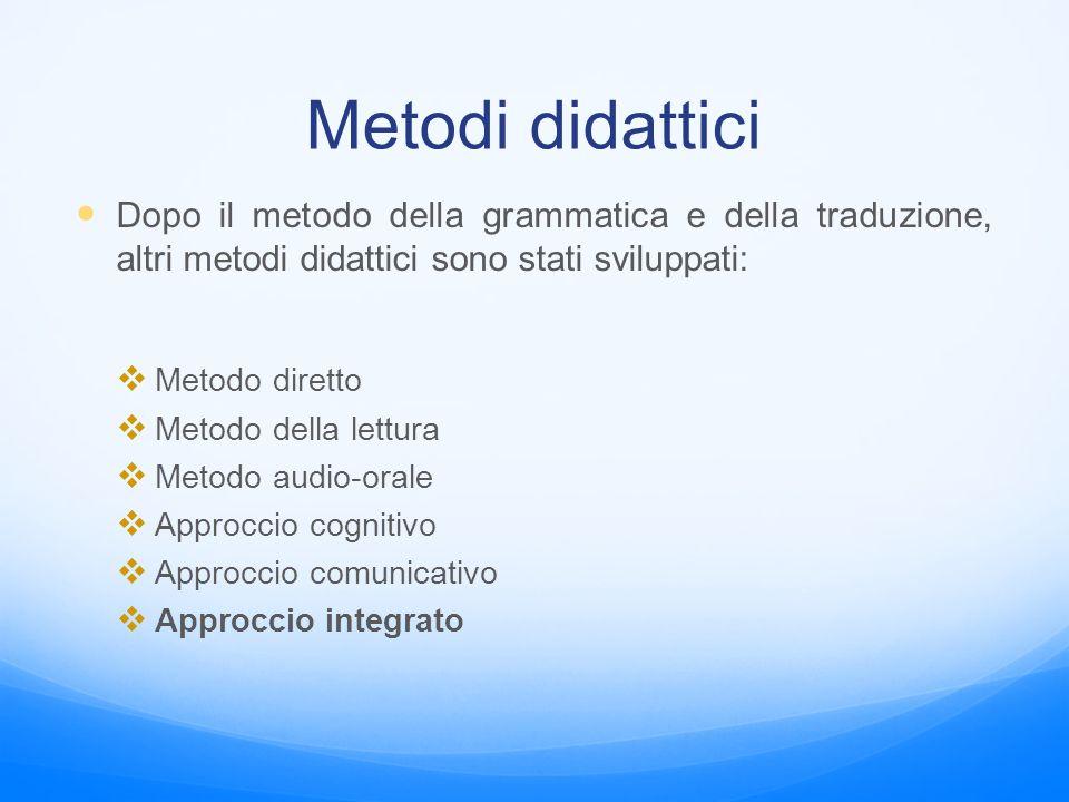 Metodi didattici Dopo il metodo della grammatica e della traduzione, altri metodi didattici sono stati sviluppati:  Metodo diretto  Metodo della let