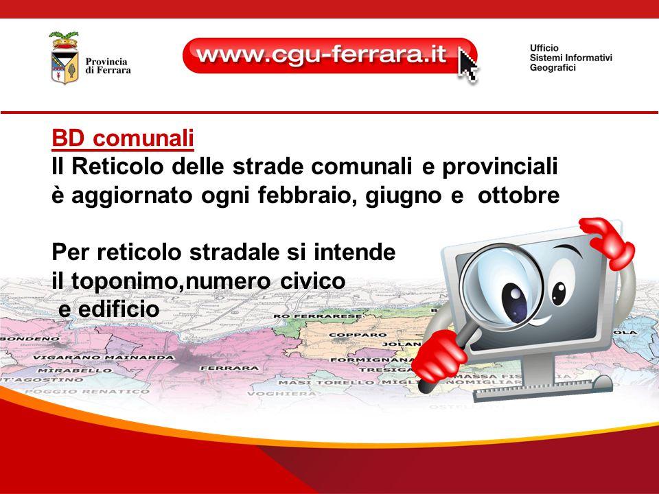BD comunali Il Reticolo delle strade comunali e provinciali è aggiornato ogni febbraio, giugno e ottobre Per reticolo stradale si intende il toponimo,numero civico e edificio