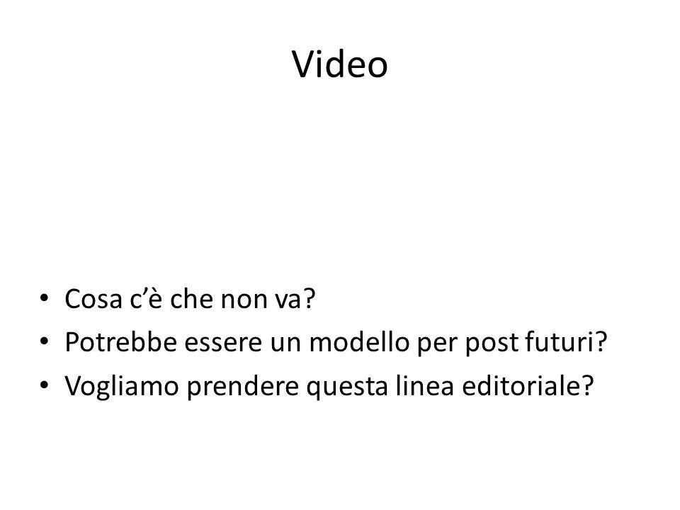 Video Cosa c'è che non va? Potrebbe essere un modello per post futuri? Vogliamo prendere questa linea editoriale?