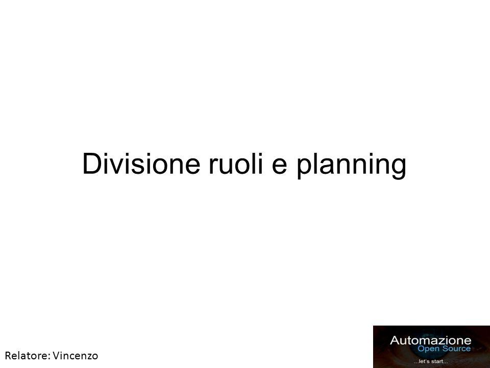 Divisione ruoli e planning Relatore: Vincenzo