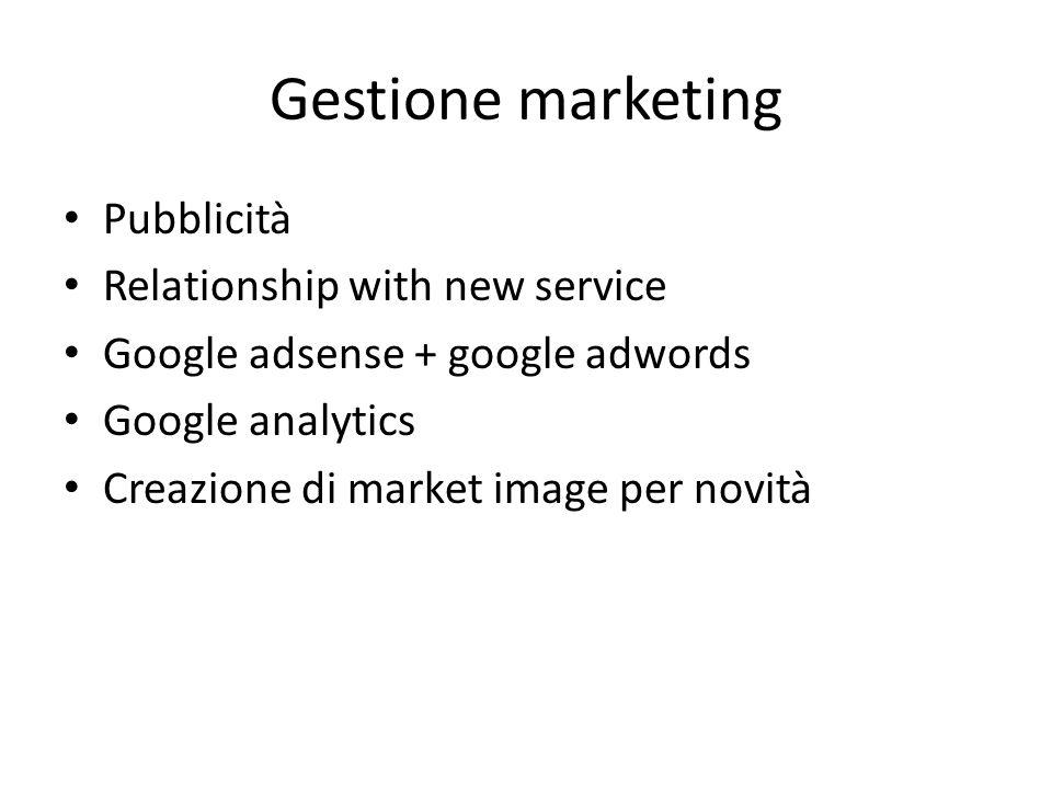 Gestione marketing Pubblicità Relationship with new service Google adsense + google adwords Google analytics Creazione di market image per novità