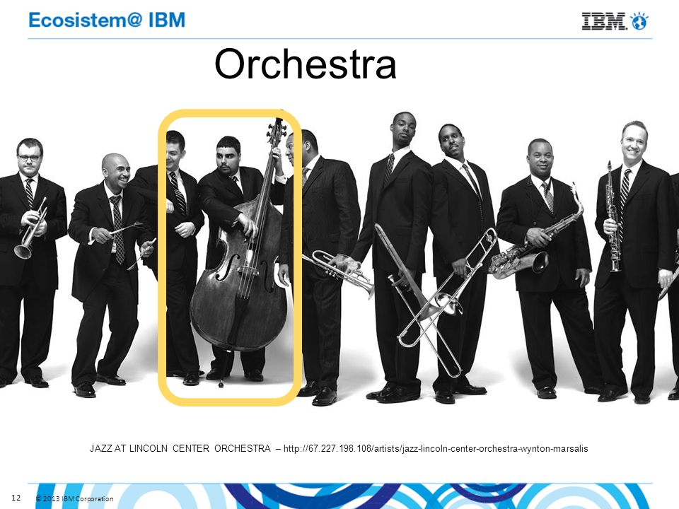 © 2013 IBM Corporation 12 Orchestra JAZZ AT LINCOLN CENTER ORCHESTRA – http://67.227.198.108/artists/jazz-lincoln-center-orchestra-wynton-marsalis