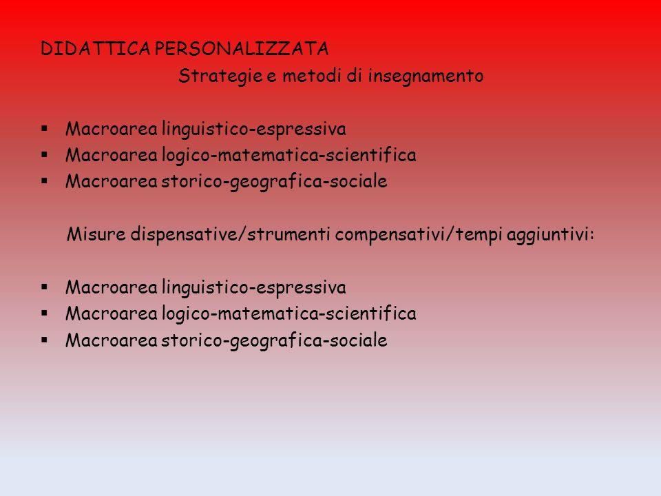DIDATTICA PERSONALIZZATA Strategie e metodi di insegnamento  Macroarea linguistico-espressiva  Macroarea logico-matematica-scientifica  Macroarea s