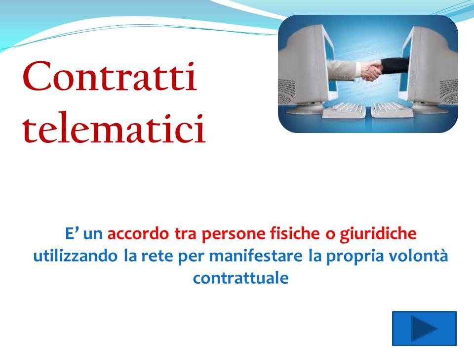E' un accordo tra persone fisiche o giuridiche utilizzando la rete per manifestare la propria volontà contrattuale Contratti telematici