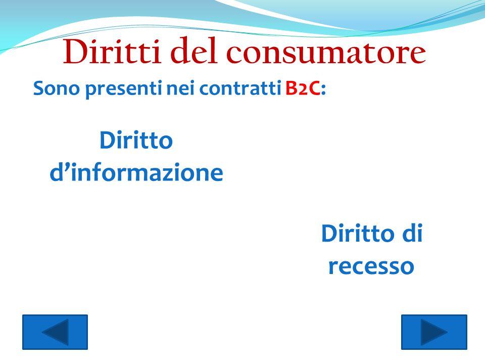 Sono presenti nei contratti B2C: Diritto d'informazione Diritto di recesso Diritti del consumatore