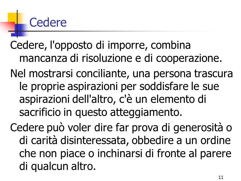 11 Cedere Cedere, l opposto di imporre, combina mancanza di risoluzione e di cooperazione.