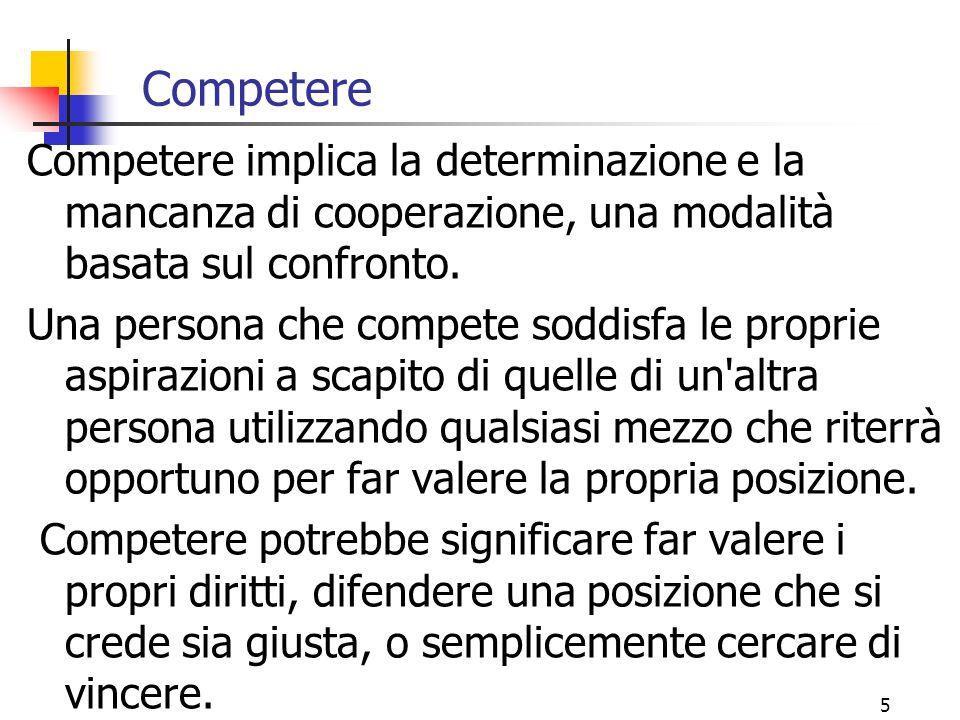 5 Competere Competere implica la determinazione e la mancanza di cooperazione, una modalità basata sul confronto.