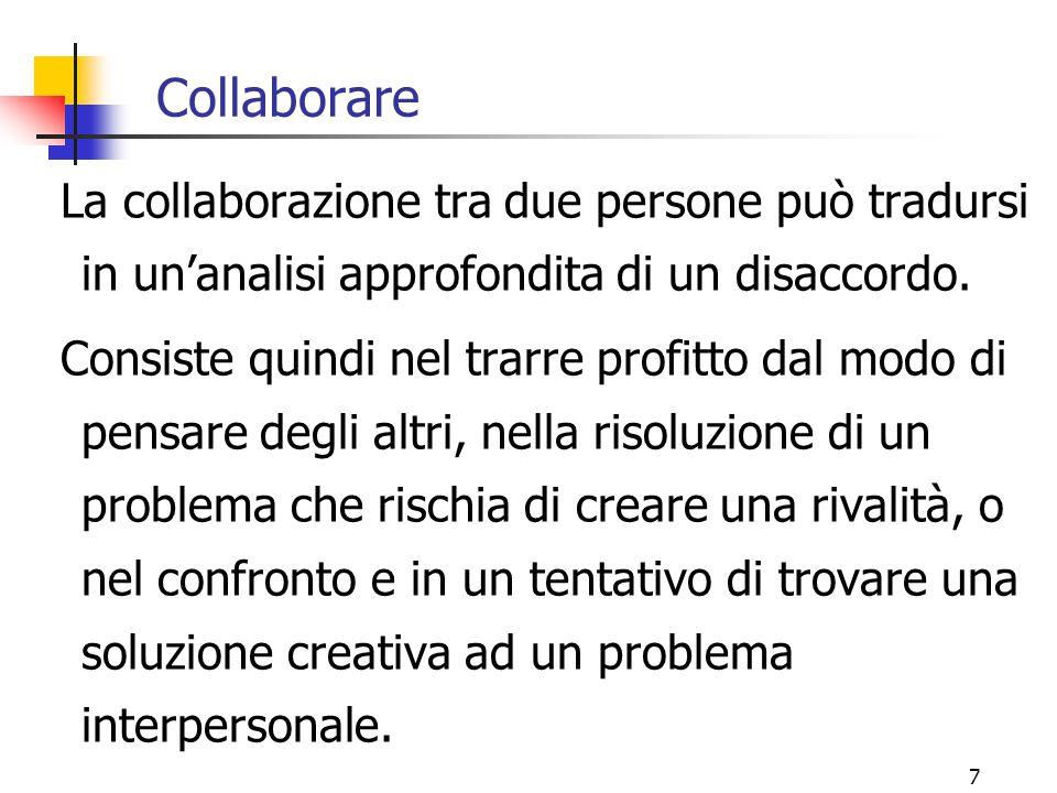 7 Collaborare La collaborazione tra due persone può tradursi in un'analisi approfondita di un disaccordo.