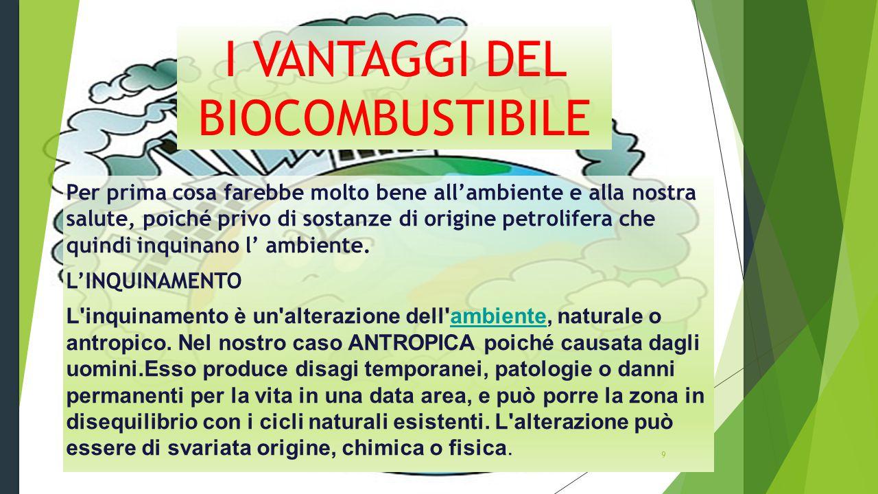 11 I VANTAGGI DEL BIOCOMBUSTIBILE Per prima cosa farebbe molto bene all'ambiente e alla nostra salute, poiché privo di sostanze di origine petrolifera