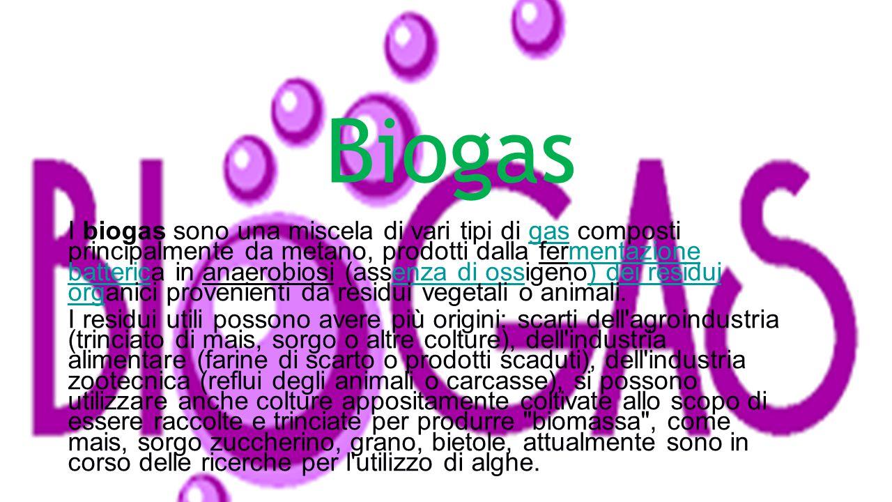 Il biogas prodotto naturalmente dalle risaie e dalle paludi non è ancora sfruttato, mentre è sfruttato quello prodotto durante la fermentazione anaero