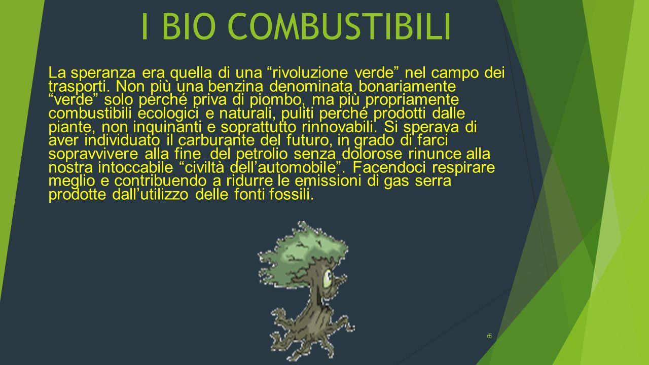 Tipi di Combustibili Il biocombustibile è un combustibile ottenuto in modo indiretto dalle biomasse: grano, mais, bietola, canna da zucchero ecc…Sono considerati biocarburanti: il bioetanolo; il biodiesel; il biometanolo; il biodimetiletere; gli idrocarburi sintetici il bioidrogeno gli olii vegetali.