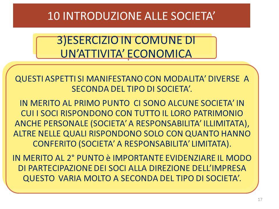 10 INTRODUZIONE ALLE SOCIETA' 17 3)ESERCIZIO IN COMUNE DI UN'ATTIVITA' ECONOMICA QUESTI ASPETTI SI MANIFESTANO CON MODALITA' DIVERSE A SECONDA DEL TIP