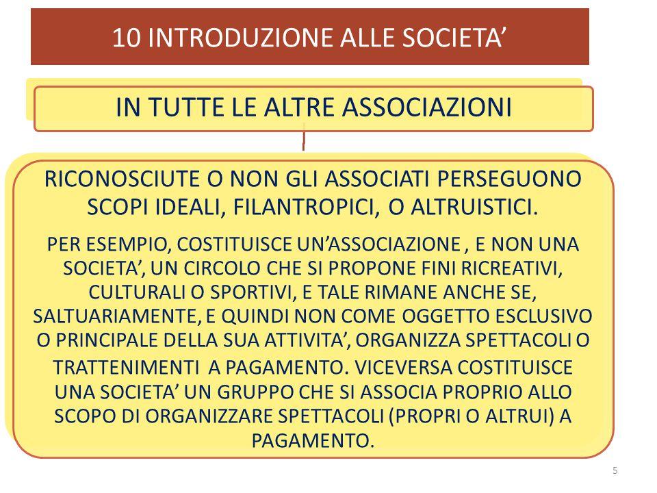 10 INTRODUZIONE ALLE SOCIETA' 5 IN TUTTE LE ALTRE ASSOCIAZIONI RICONOSCIUTE O NON GLI ASSOCIATI PERSEGUONO SCOPI IDEALI, FILANTROPICI, O ALTRUISTICI.