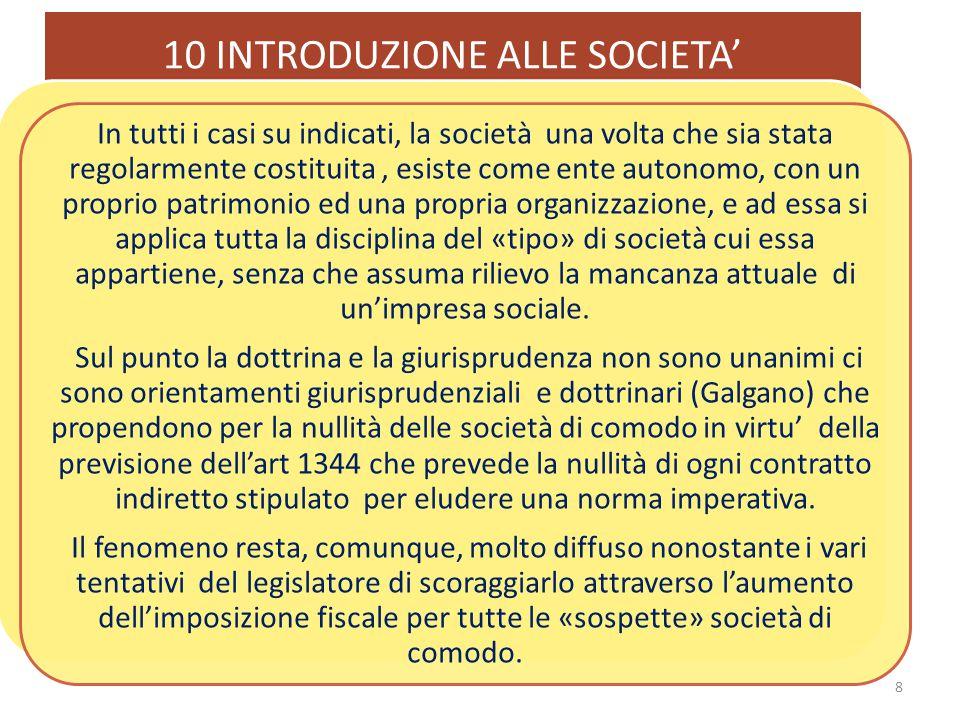10 INTRODUZIONE ALLE SOCIETA' 19 È perciò necessario per avere una società, un requisito che è, invece, superfluo per avere l'impresa: il perseguimento dello scopo lucrativo.