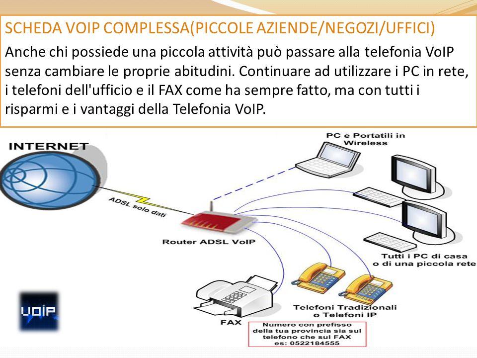 SCHEDA VOIP COMPLESSA(PICCOLE AZIENDE/NEGOZI/UFFICI) Anche chi possiede una piccola attività può passare alla telefonia VoIP senza cambiare le proprie