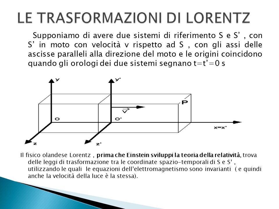 Supponiamo di avere due sistemi di riferimento S e S', con S' in moto con velocità v rispetto ad S, con gli assi delle ascisse paralleli alla direzione del moto e le origini coincidono quando gli orologi dei due sistemi segnano t=t'=0 s Il fisico olandese Lorentz, prima che Einstein sviluppi la teoria della relatività, trova delle leggi di trasformazione tra le coordinate spazio-temporali di S e S', utilizzando le quali le equazioni dell'elettromagnetismo sono invarianti ( e quindi anche la velocità della luce è la stessa).
