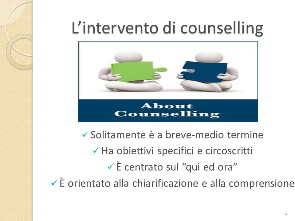 L'intervento di counselling Solitamente è a breve-medio termine Ha obiettivi specifici e circoscritti È centrato sul qui ed ora È orientato alla chiarificazione e alla comprensione 14