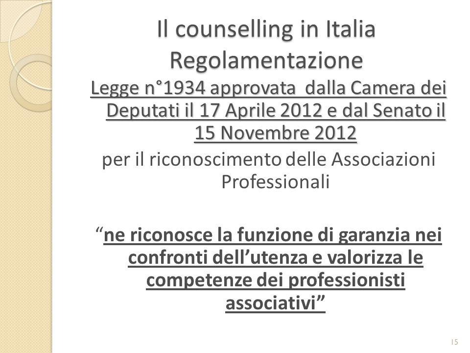 Il counselling in Italia Regolamentazione Legge n°1934 approvata dalla Camera dei Deputati il 17 Aprile 2012 e dal Senato il 15 Novembre 2012 per il riconoscimento delle Associazioni Professionali ne riconosce la funzione di garanzia nei confronti dell'utenza e valorizza le competenze dei professionisti associativi 15