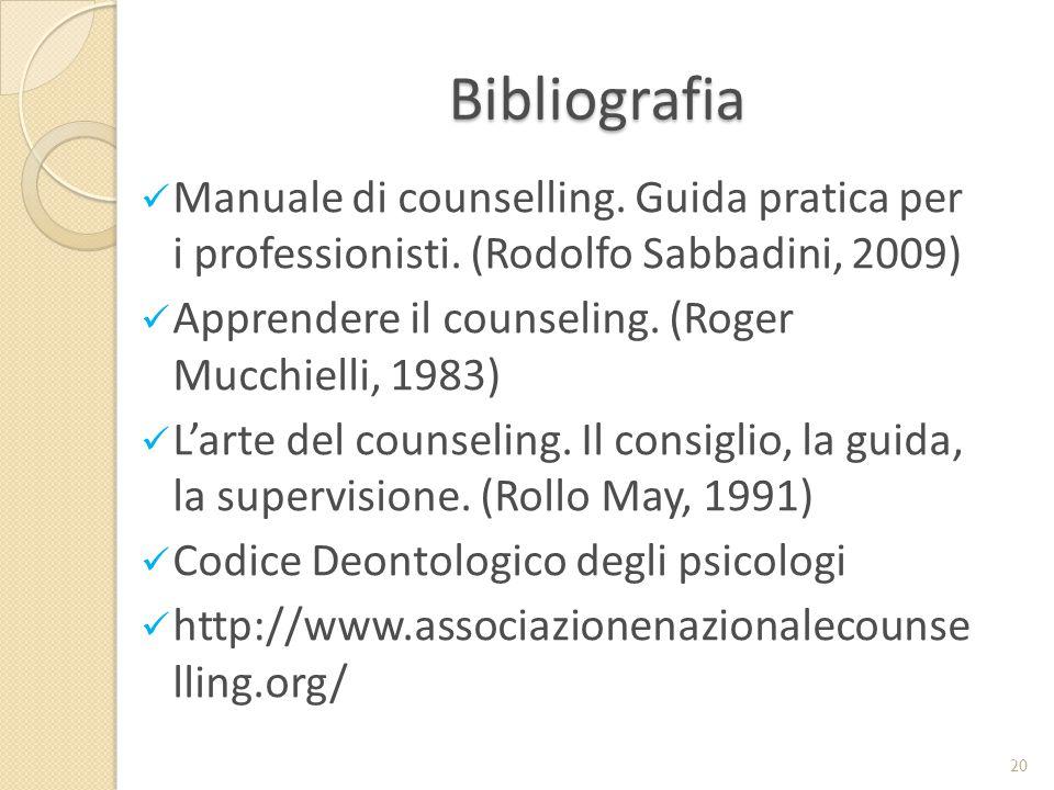 Bibliografia Manuale di counselling. Guida pratica per i professionisti. (Rodolfo Sabbadini, 2009) Apprendere il counseling. (Roger Mucchielli, 1983)