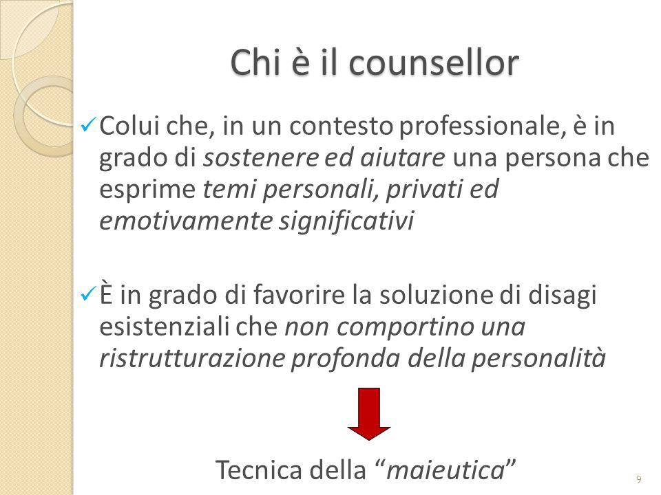 Chi è il counsellor Colui che, in un contesto professionale, è in grado di sostenere ed aiutare una persona che esprime temi personali, privati ed emo
