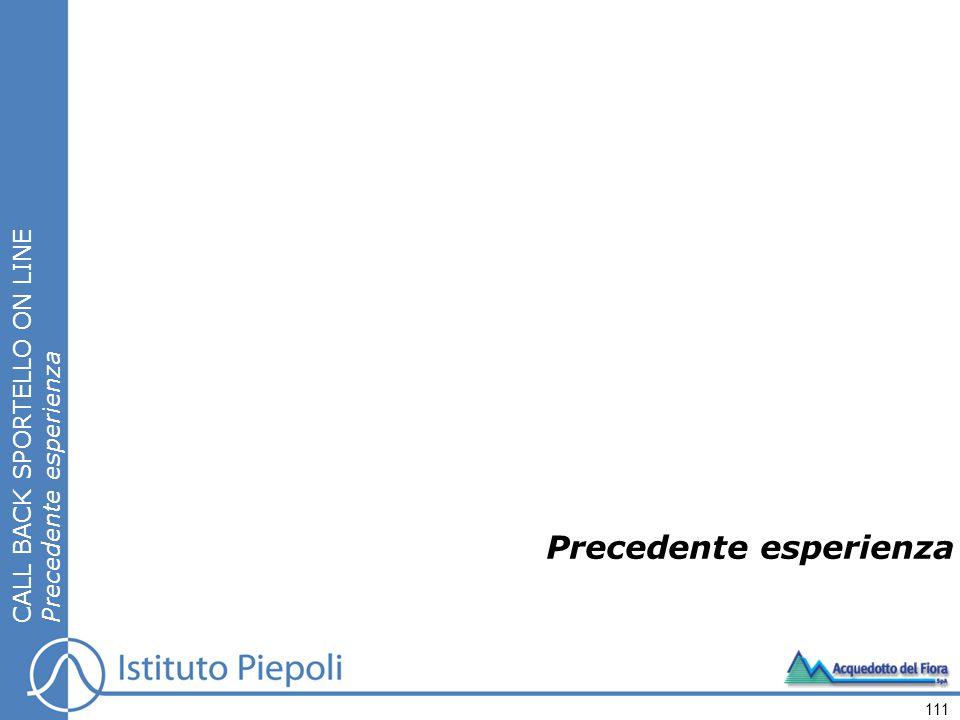 111 Precedente esperienza CALL BACK SPORTELLO ON LINE Precedente esperienza