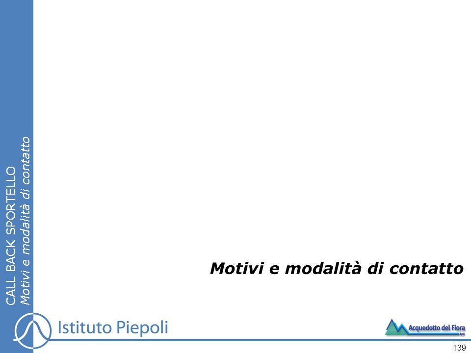 Motivi e modalità di contatto CALL BACK SPORTELLO Motivi e modalità di contatto 139