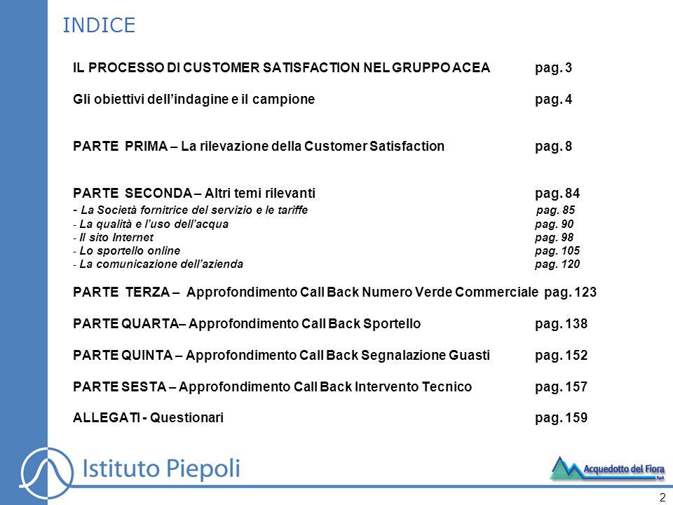 SEZIONE B - CUSTOMER SATISFACTION SPORTELLI B.1.