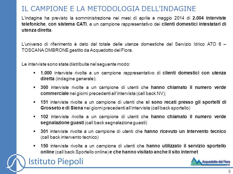 IL CAMPIONE E LA METODOLOGIA DELL'INDAGINE L'indagine ha previsto la somministrazione nei mesi di aprile e maggio 2014 di 2.004 interviste telefoniche, con sistema CATI, a un campione rappresentativo dei clienti domestici intestatari di utenza diretta.