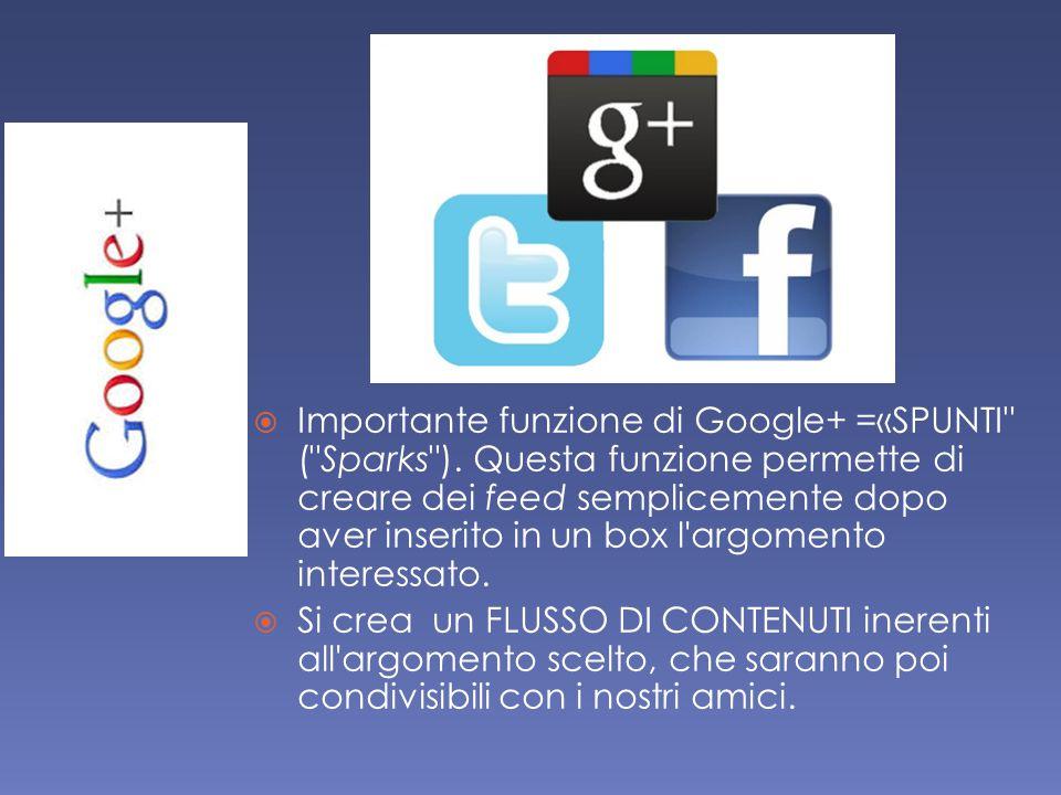  Importante funzione di Google+ =«SPUNTI ( Sparks ).