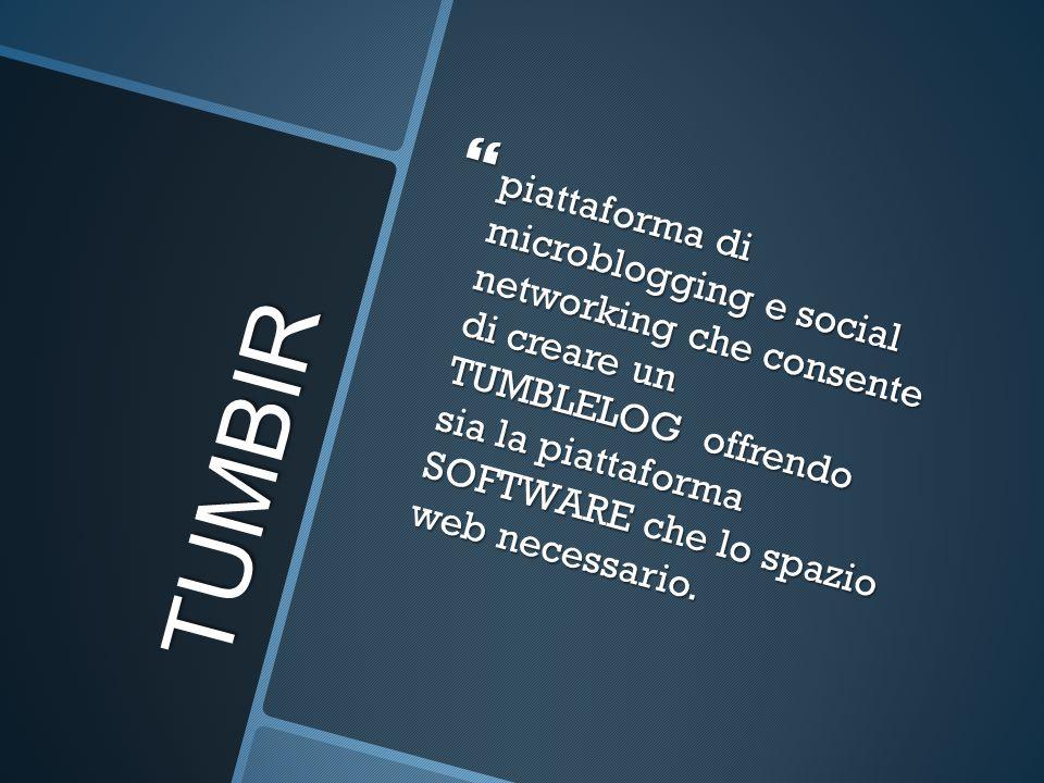 TUMBIR  piattaforma di microblogging e social networking che consente di creare un TUMBLELOG offrendo sia la piattaforma SOFTWARE che lo spazio web necessario.