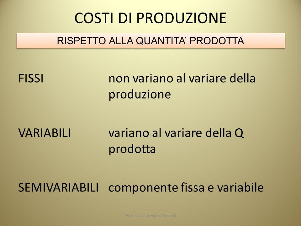 COSTI DI PRODUZIONE FISSInon variano al variare della produzione VARIABILIvariano al variare della Q prodotta SEMIVARIABILIcomponente fissa e variabile RISPETTO ALLA QUANTITA' PRODOTTA Dott.ssa Caterina Panzeri