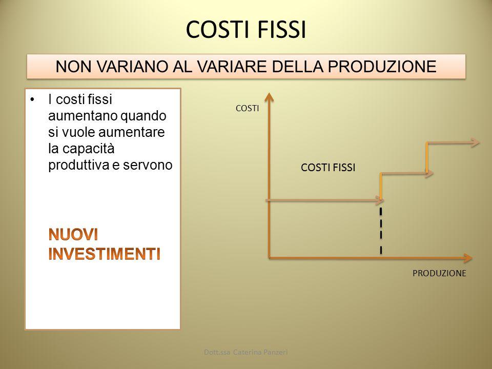 COSTI FISSI NON VARIANO AL VARIARE DELLA PRODUZIONE COSTI PRODUZIONE COSTI FISSI Dott.ssa Caterina Panzeri