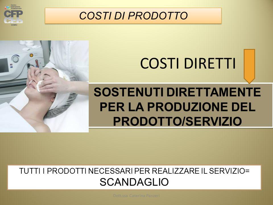 COSTI DIRETTI SOSTENUTI DIRETTAMENTE PER LA PRODUZIONE DEL PRODOTTO/SERVIZIO COSTI DI PRODOTTO TUTTI I PRODOTTI NECESSARI PER REALIZZARE IL SERVIZIO= SCANDAGLIO Dott.ssa Caterina Panzeri