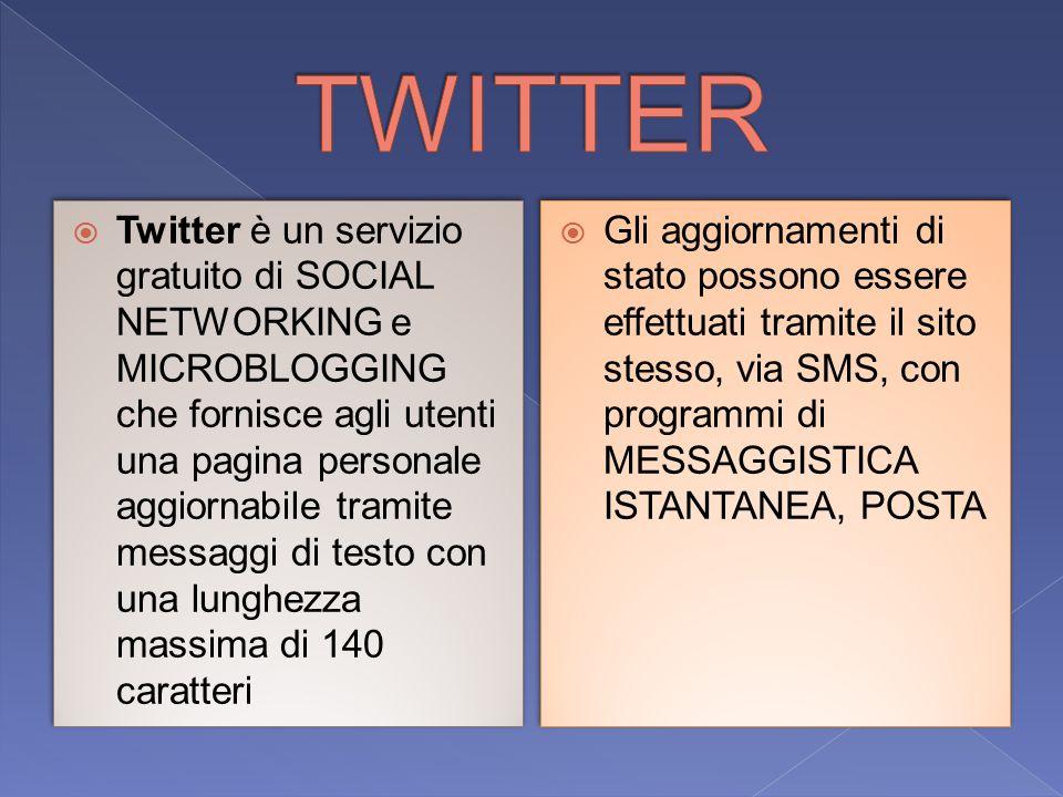  Twitter è un servizio gratuito di SOCIAL NETWORKING e MICROBLOGGING che fornisce agli utenti una pagina personale aggiornabile tramite messaggi di testo con una lunghezza massima di 140 caratteri  Gli aggiornamenti di stato possono essere effettuati tramite il sito stesso, via SMS, con programmi di MESSAGGISTICA ISTANTANEA, POSTA