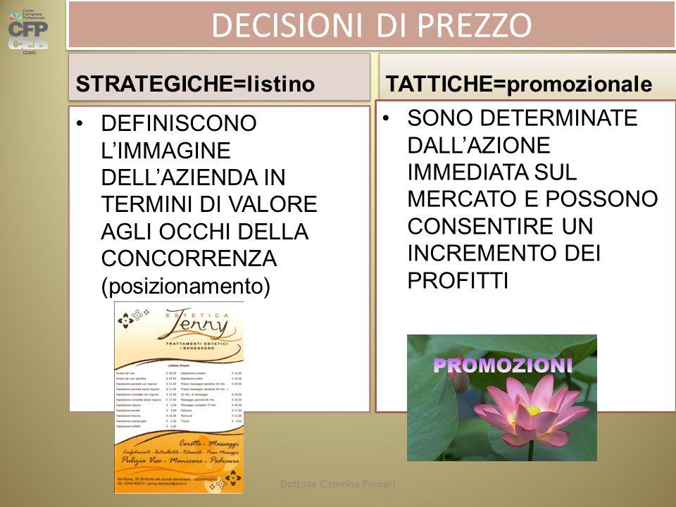 DECISIONI DI PREZZO STRATEGICHE=listino TATTICHE=promozionale DEFINISCONO L'IMMAGINE DELL'AZIENDA IN TERMINI DI VALORE AGLI OCCHI DELLA CONCORRENZA (posizionamento) SONO DETERMINATE DALL'AZIONE IMMEDIATA SUL MERCATO E POSSONO CONSENTIRE UN INCREMENTO DEI PROFITTI Dott.ssa Caterina Panzeri