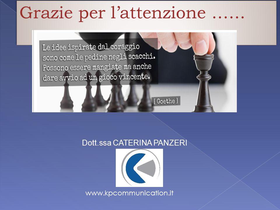 Grazie per l'attenzione.….. Dott.ssa CATERINA PANZERI www.kpcommunication.it