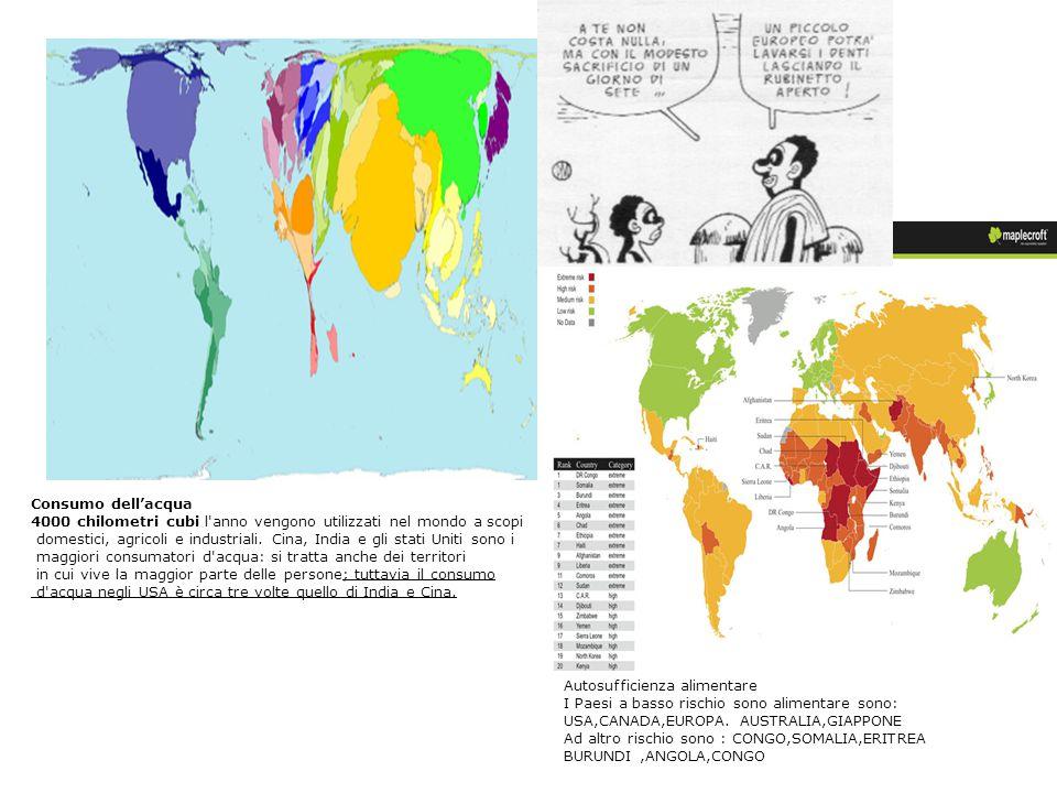 Consumo dell'acqua 4000 chilometri cubi l'anno vengono utilizzati nel mondo a scopi domestici, agricoli e industriali. Cina, India e gli stati Uniti s